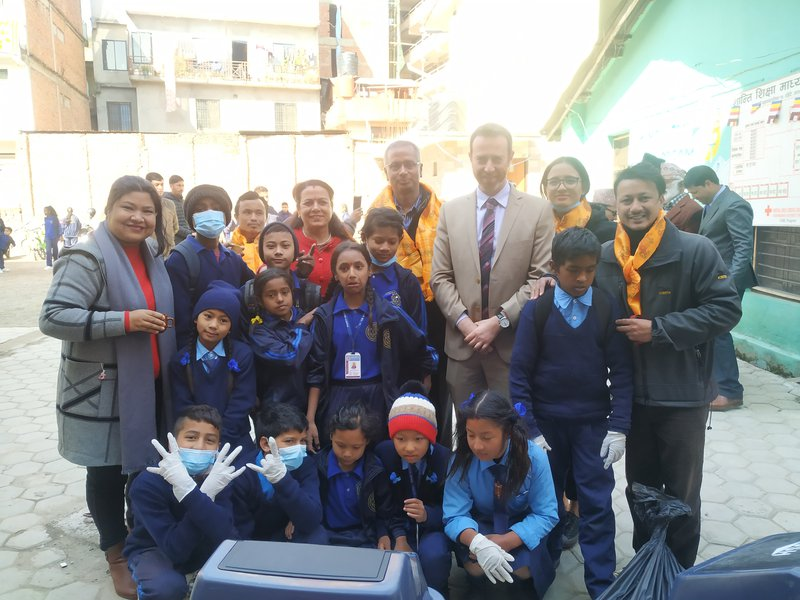 DCM of the Embassy, Shalom Club Members and students after collecting waste.jpg