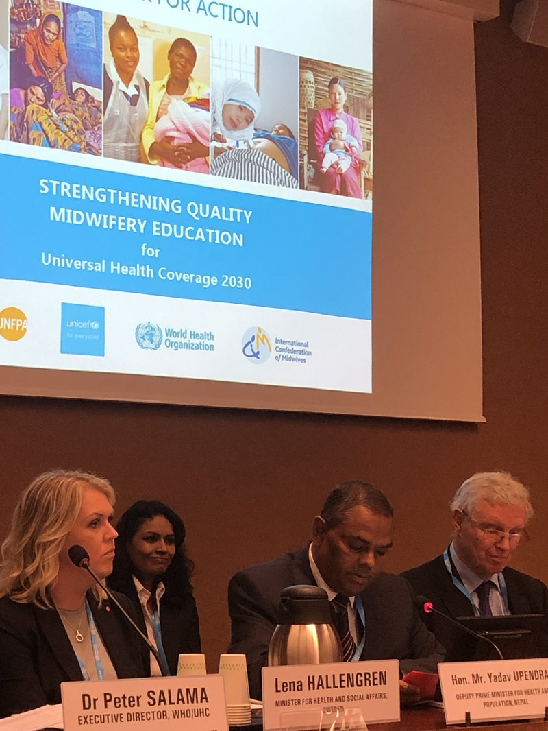 DPM addresses WHO side event on midwifery education, 20 May 2019.jpg