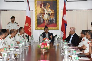 Defense Minister Pradhan in Nepal Army Headqater.jpg