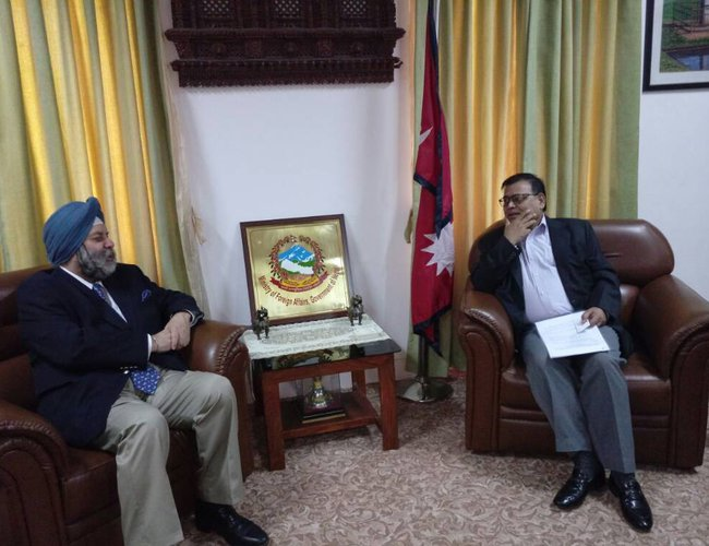 Indian ambassador Puri with foreing minister Mahara1.jpg