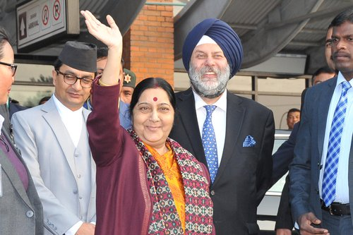 Indian minister Swaraj at airport.jpg