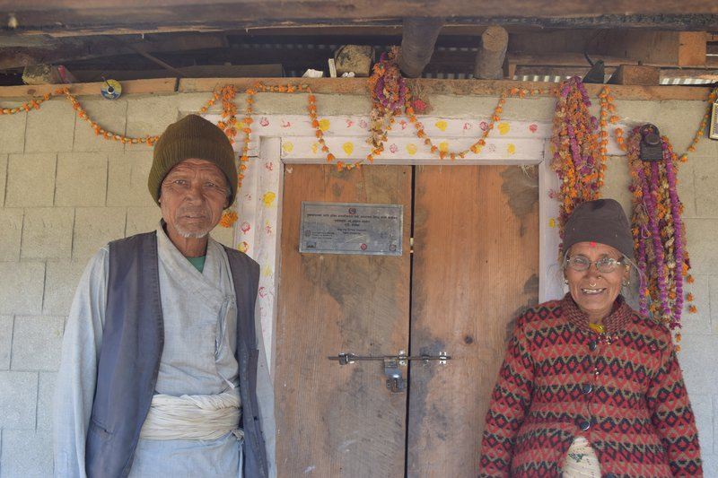 Jaya Prithivi Bahadur BK and Prhthvi Maya BK of Suri village at their newly built house.jpg