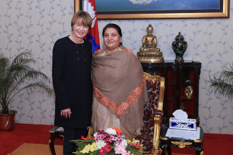 Mrs Elke Budenbender, First Lady of Germany, visits with Right Honorable Mrs Bidhya Devi Bhandari, President of Nepal.jpg