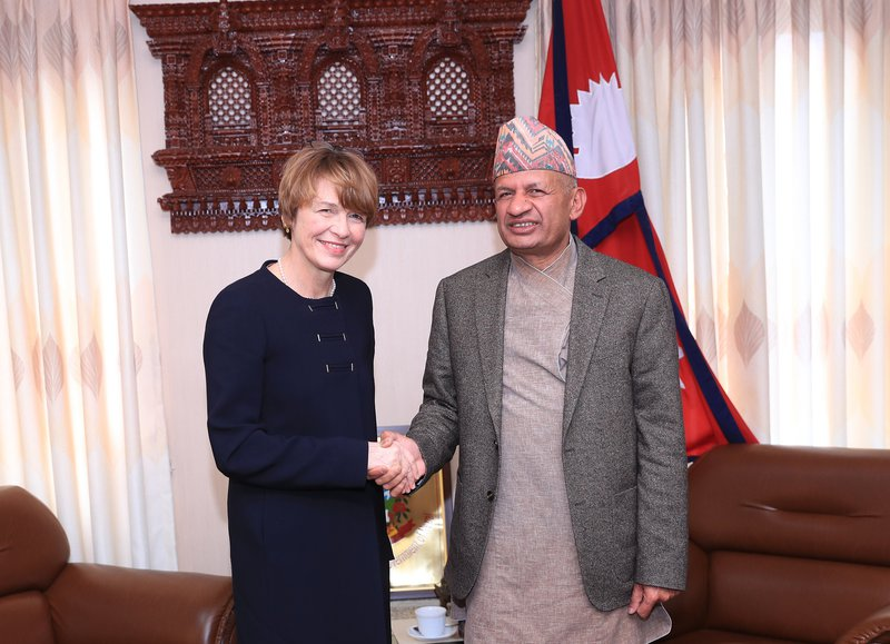 Mrs Elke Budenbender, First Lady of Germany, visits with Honorable Minister of Foreign Affairs Mr Pradeep Gyawali (1).JPG