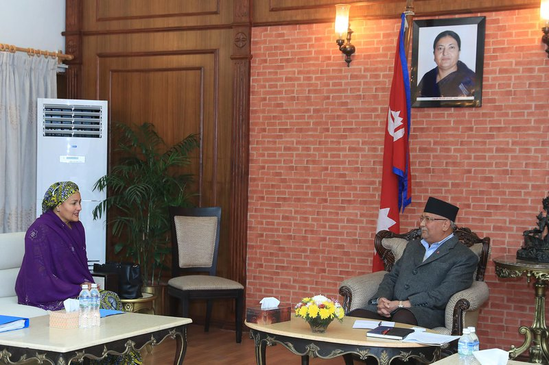 Ms. Amina J. Mohammed meeting with the Right Honorable Prime Minister of Nepal, Mr. KP Oli (2).JPG