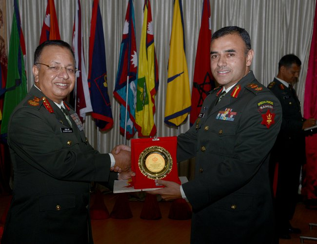 Nepal Aarmy Chief General Chhetri  providing best award.jpg