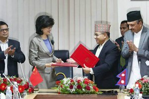 Foreign Secretary Shanker Das Bairagi and Chinese Ambassador to Nepal .jpg