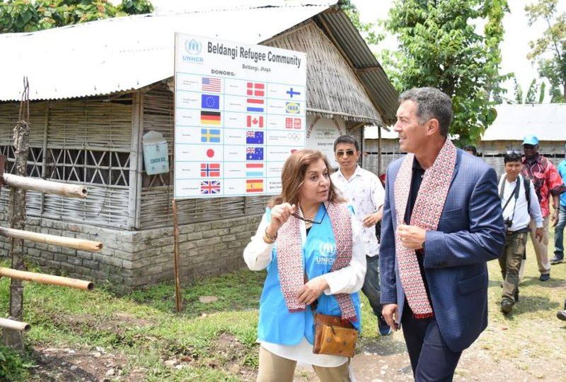 US Ambassador Mr. Randy Berry being accompanied by UNHCR Representative Ms. Bushra Halepota during visit in Beldangi refugee settlement in Jhapa district..jpg